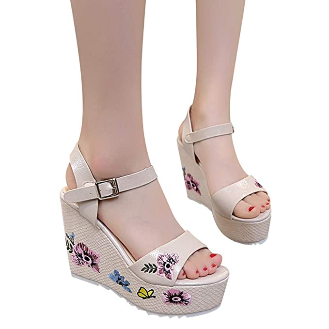 ❤ABsoar Sandalias Bohemia De Tacón De Aguja Impresas para Mujeres Moda Mujeres Zapatos De CuñA De Verano De Gran Tamaño Sandalias de Vestir Mocasines ...