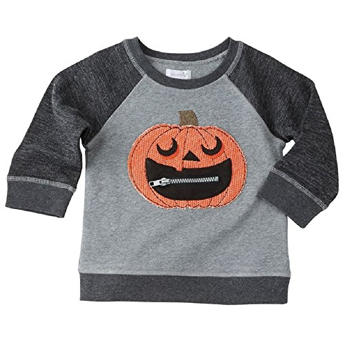 Mud Pie  Baby Boy's Halloween Pumpkin Sweatshirt (Infant/Toddler) Gray Large (Pumpkin Sweatshirt Kids)