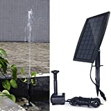 YADICO Solar Powered Fountain 2.5W Solar Panel Kit 200L/H Submersible Water Pump for Bird Bath Pond, Pool, Garden Decoration