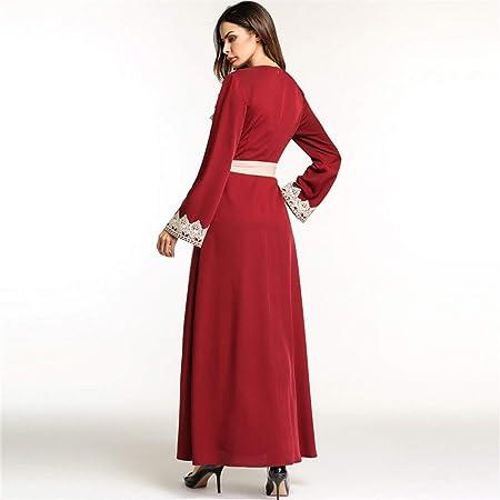 Cvbndfe Cómodo Gran división de la Mujer Tenedor de Gran tamaño Vestido de Mujer Falso Traje de Dos Piezas Ropa árabe Elegante (tamaño : XXL): Amazon.es: ...