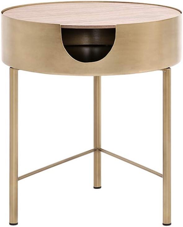 XIAOLIN 北欧リビングルームコーヒーテーブル金属ソファサイドテーブル家具ラウンド収納小さなスペーストレイテーブル木材 (サイズ さいず : 41X46cm)