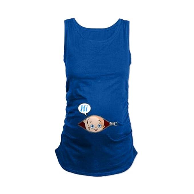 MEIHAOWEI Mujeres Embarazadas Camiseta Traje de Verano Divertido Chaleco de Algodón Tops Azul Oscuro S