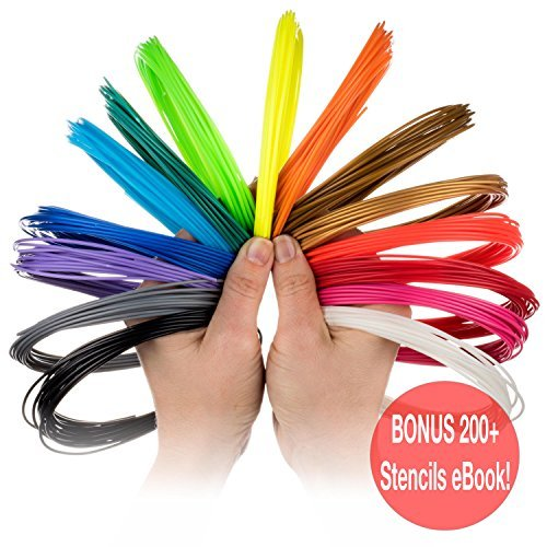 3D Pen Filament Refills - 15 Colors - INCLUDES 3 GLOW IN THE DARK! 21 Feet Per Colour - Smoothest ABS Plastic 1.75mm Around! BONUS 200+ Stencils (No 11 Yellow Ink Cart)