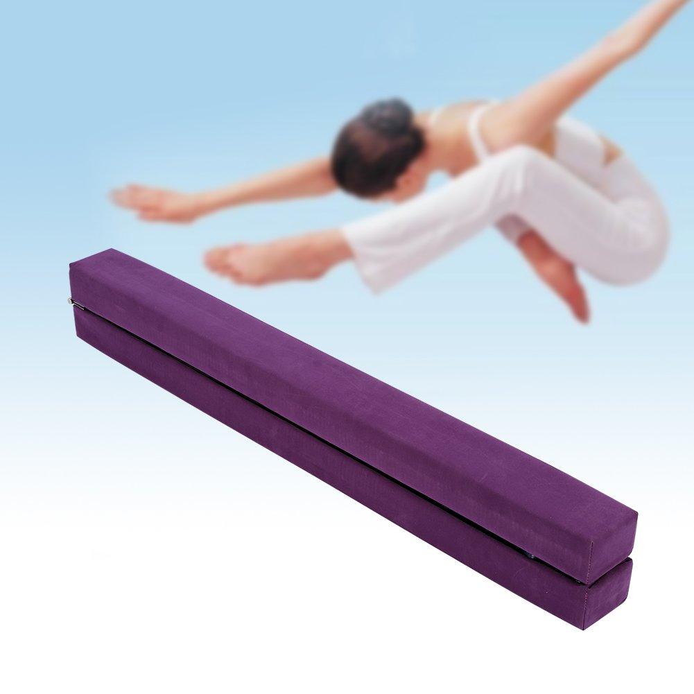 Zerone Poutre de Gymnastique Pliable, Poutre d'équilibre Antidérapante en Daim pour Enfant Adulte Entraînement Sportif 2.2m (7FT)