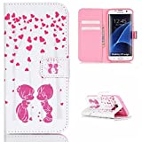 Uming® Pattern Print PU Holster case [ Kissing child heart tree | for Samsung Galaxy S5 I9600 S5Neo ] PU Artificial-leather Colorful Printing Drawing Patterns Flip Holster with Stand Holder Credit Card Slot Hole Hasp Magnet Button Buckle Shell Protective Mobile Cell Phone Case Cover Bag