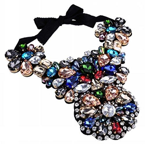 Black Fabric Handmade Flower Multi-Colour Glass Beaded Chain Bib Cluster Pendant Necklace