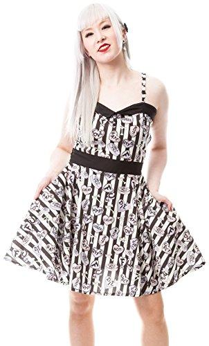 Cupcake Cult - Vestido - Rayas - Sin mangas - para mujer blanco y negro