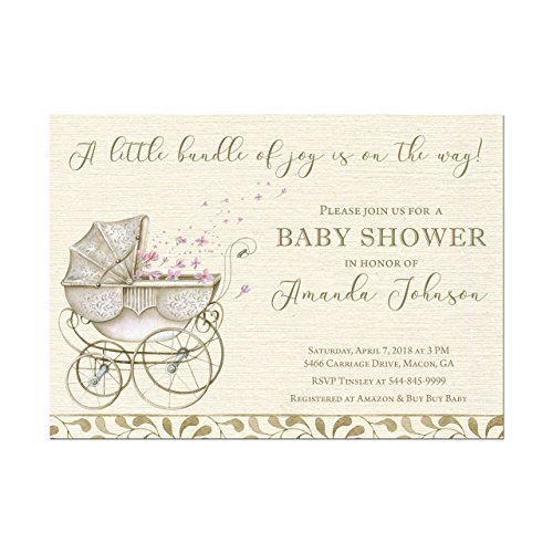 Stroller Baby Shower Invitation, Vintage Look Baby Carriage Shower Invitation, Set of 10 5x7 invitations with white -