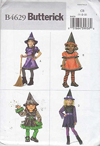 Butterick Sewing Pattern 4629 Toddler Girls Size 1-2-3 Easy Witch Costume Dress Hat -