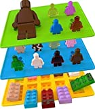 3 Pack - Candy Molds & Silicone Ice Cube Tray - Lego Building Blocks, Jello and Toy Figures - Chocolate & Strawberry Candy Bar Mold Shapes for Baby Shower, Christmas, Wedding - Best Soft Tray Set for Children, Parties and Kids