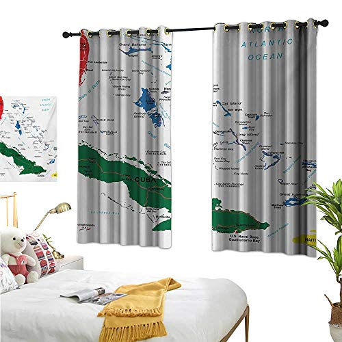 MartinDecor Wanderlust Customized Curtains Bahamas Map Beach Cayman Islands Geography District Holiday Tourism W55 x L63,Suitable for Bedroom Living Room Study, etc.