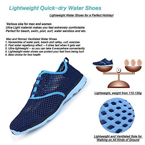 Wasser Schuhe für Frauen schnell trocknende Aqua Schuhe Strand Pool Schuhe Sportliche Sport Wanderschuhe Mesh Slip On Dunkelblau