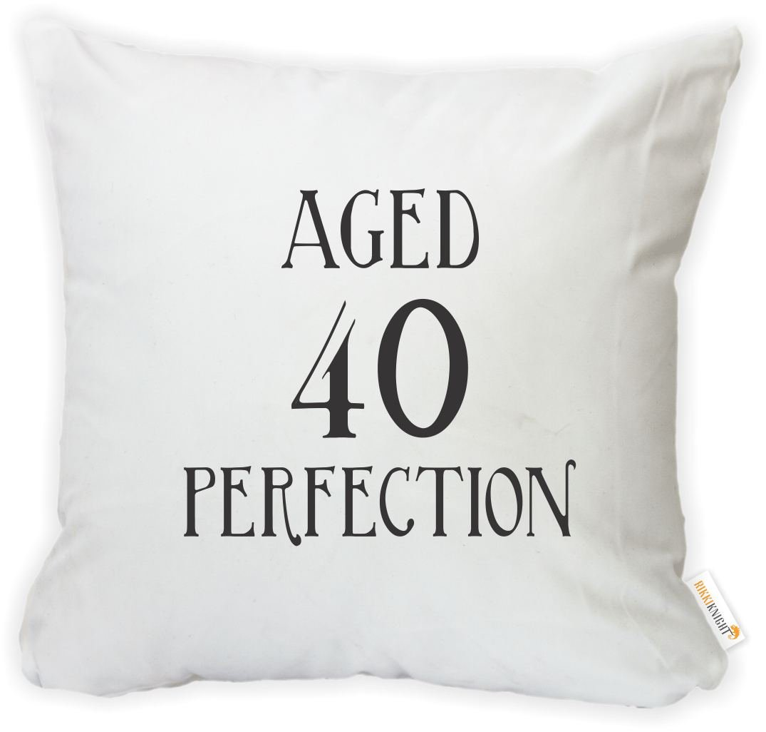 Insert Included Rikki Knight 16 x 16 inch Aged 40 Perfection Birthday Microfiber Throw Pillow Cushion Square with Hidden Zipper -Printed in The USA