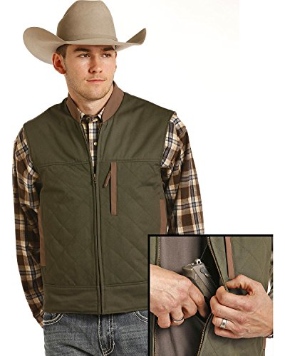 Powder River Outfitters Men's Brushed Twill Conceal and Carry Vest Hunter Green Small ()