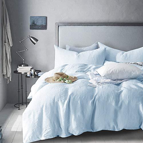 Merryfeel Luxury Linen Duvet Cover Set,100% French Linen Bedding Set - King - Light Blue (Bedding Linen Blue)