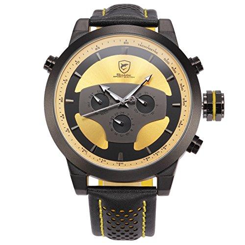 Requiem Shark Dual Time Zone Analog Date Day Mens Leather Sport Wrist Watch SH208 by Shark Sport Watch