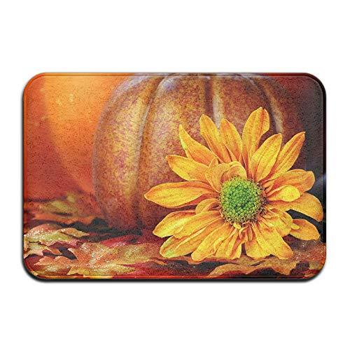 TONICCN Non-Slip Doormats Halloween Pumpkin and Chrysanthemum Shoes