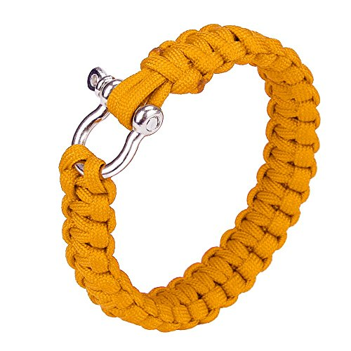 Pocket Tools Parachute Cord Wristband Paracord Survival Bracelet With Zinc Alloy Bow Shackle Rope Survival Bracelet Rope Color Yellow