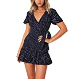Shybuy Women Asymmetrical Floral Flare V Neck Bow Ruffles Bohe Party Mini Dress (Navy, L)