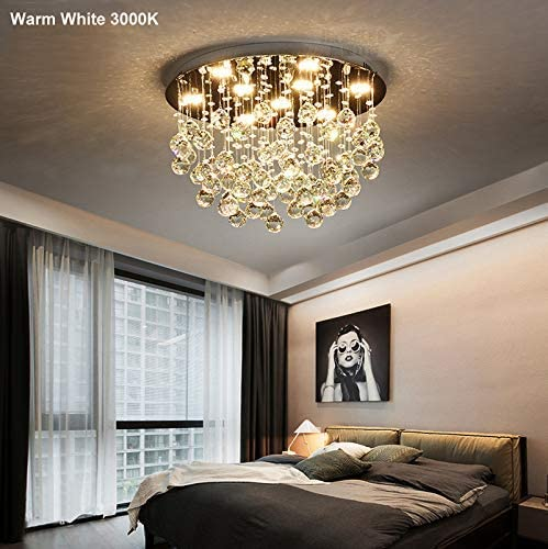 7PM Crystal Chandelier Ceiling Light Flush Mount Modern Round Raindrop Light Fixture