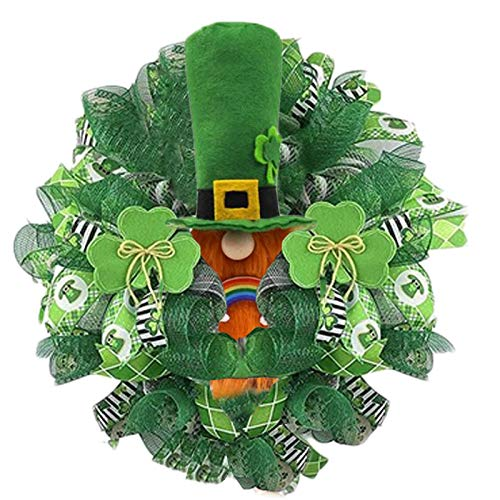 Yanwuuh St.Patrick's Day Wreath for Front Door Decorations, Irish Festival Wreath for Party Classroom Office Indoor Outdoor Ornaments Bedroom Wall Window Home Office, Housewarming Gift Easter Decor