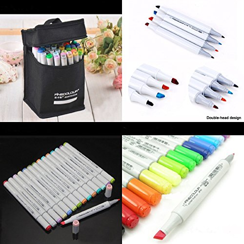 Yosoo Finecolour EF101 Set Artist Colored Marker Pen Sketch Manga Graphic Paint + Storage Pouch Bag For Starter or Students (48 Colors)