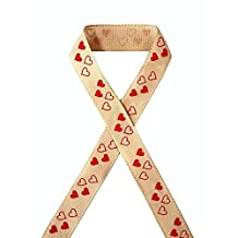"Valentine Love Heart Print Faux Burlap Ribbon - 25 Yds/roll (3/8"")"