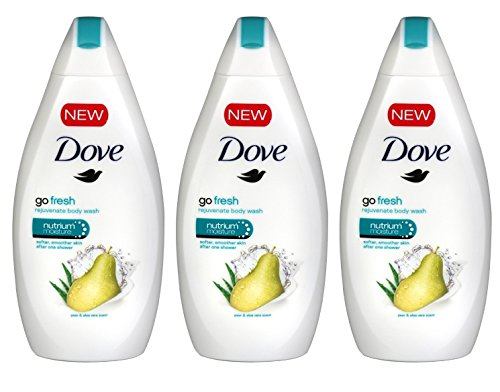 Dove Go Fresh Body Wash, Pear & Aloe Scent, 16.9 Ounce / 500 Ml (Pack of 3) (Dove Gentle Exfoliating Body Wash)