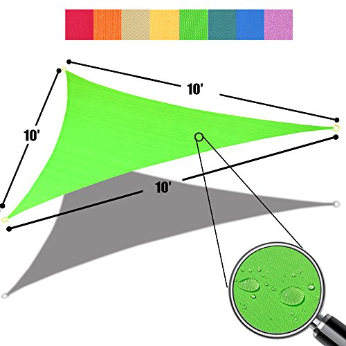 Alion Home 10' x 10'x 10' Triangle Waterproof Woven Sun Shade Sail in Vibrant Colors (Lime Green)