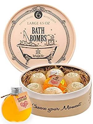 Tortuga Life Luxury Bath Bombs Gift Set with Bubble Bath Soap-6 Large Ultra Lush Bath Fizzies-Handmade with Essential Oils