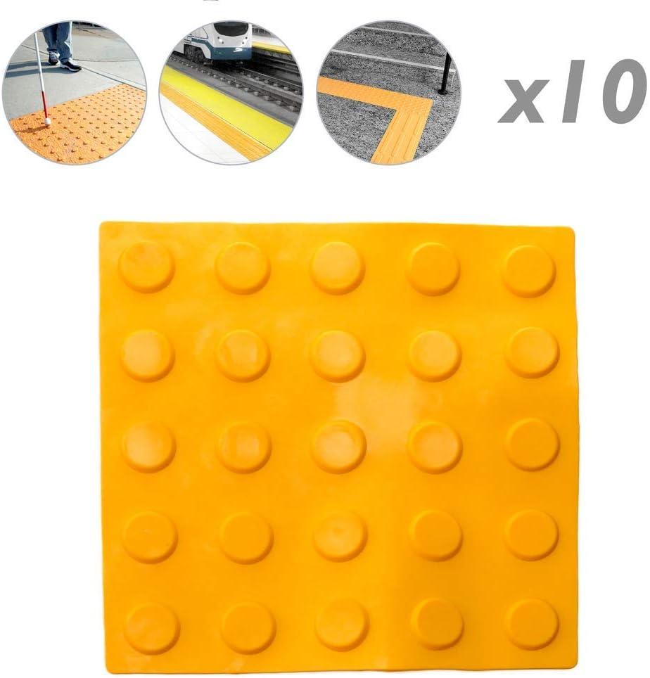 PrimeMatik Taktile Fliesenbodenfliese f/ür Blinde 25x25cm mit Kreise von Stopp und Alarm gelb 10-Pack