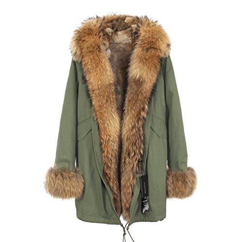 little deer 100% Real Genuine Raccoon Fur Coat With Rabbit Fur Lining (L, Khaki and Beige (Genuine Raccoon)