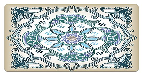 Floral License Plate by Lunarable, Victorian Butterfly and Curved Fish Pattern Eastern Shabby Chic Image, High Gloss Aluminum Novelty Plate, 5.88 L X 11.88 W Inches, Teal Beige Violet Blue ()