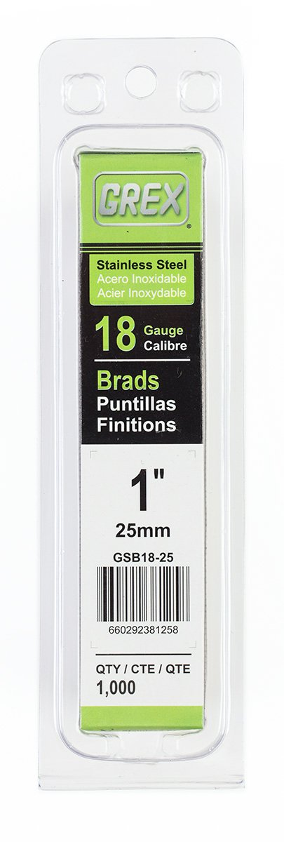 Grex Power Tools GSB18-25 18 Gauge Stainless steel 1'' Length Brad Nails (1,000per Pack)