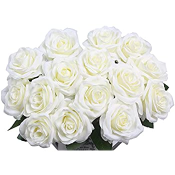 Amazon artificial flowers amyhomie silk roses bouquet home artificial flowers amyhomie silk roses bouquet home wedding decoration pack of 15 15 white mightylinksfo