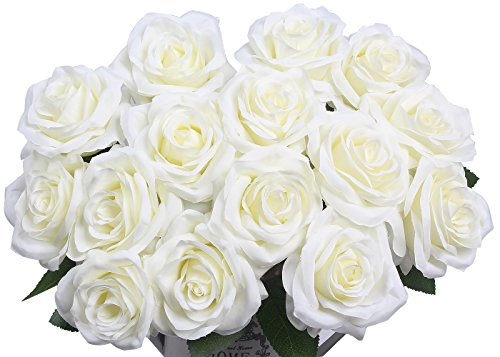 Artificial Flowers AmyHomie Silk Roses Bouquet Home Wedding Decoration Pack of 15 (15, White) - White Silk Rose Flower