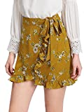 SweatyRocks Women's Boho Floral Print High Waist Ruffle Short Mini Wrap Skirts Yellow S