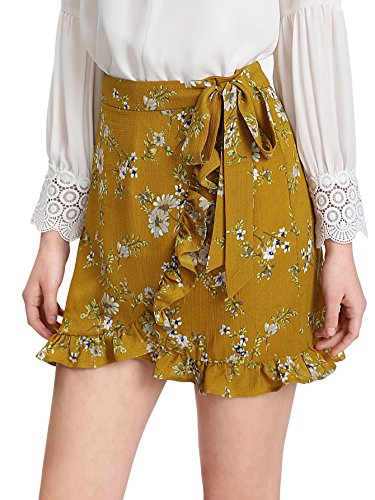 Mini Print Wrap (SweatyRocks Women's Boho Floral Print High Waist Ruffle Short Mini Wrap Skirts Yellow S)