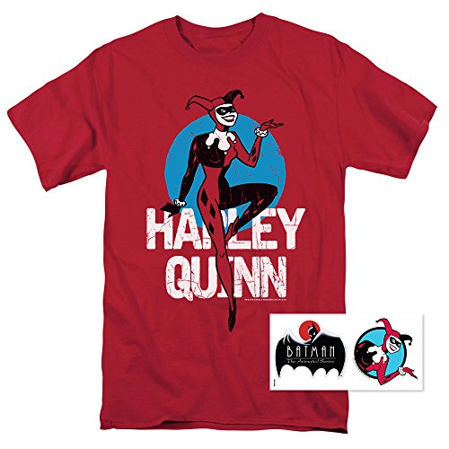 (Batman: The Animated Series Harley Quinn T Shirt & Exclusive Stickers (Large))