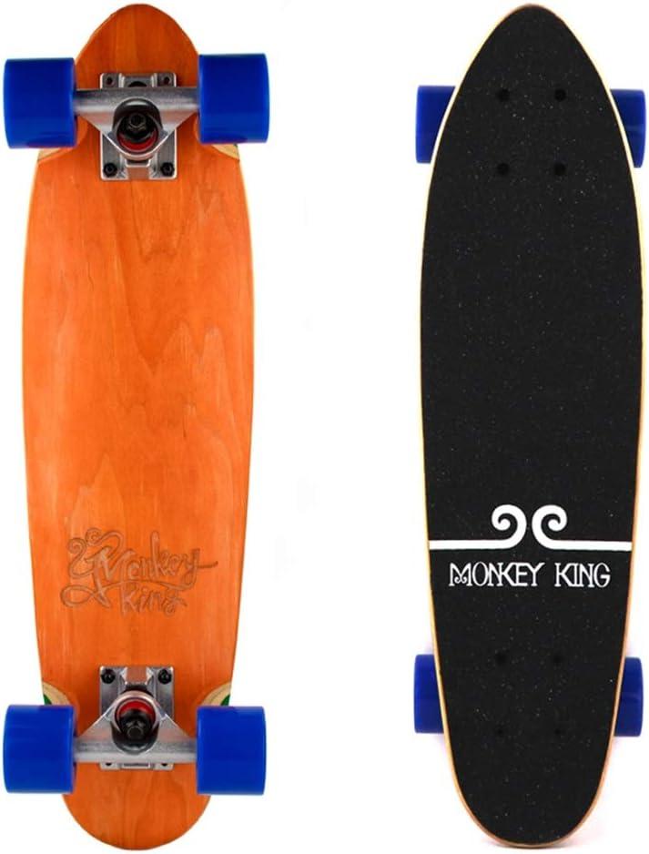 LJHBC スケートボード 小魚プレートスケートボード 初心者の子供たち メープルデッキ 24×6.5インチ 大人旅行サーフボード ベアリング重量120kg オレンジ