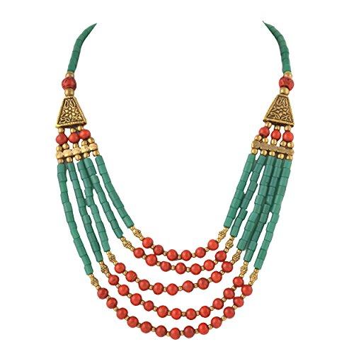 Zephyrr Fashion Tibetan Handmade Beaded Multi Strand Necklace for Women ()