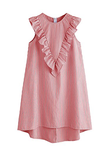 (Floerns Women's Vertical Striped Ruffle Front Tunic Dress Red L)