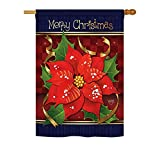 Breeze Decor H114087 Poinsettia Love Winter Christmas Decorative Vertical House Flag, 28″ x 40″, Multicolor Review