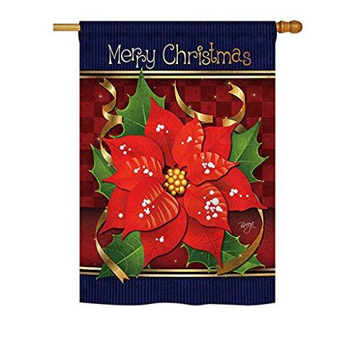 Breeze Decor H114087 Poinsettia Love Winter Christmas Decorative Vertical House Flag, 28