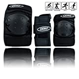 GIORO Adult/Child's Multi Sports Protective Gear, 3 In 1 Set Knee Pads Elbow Pads Wrist Guards for Skateboarding Skating Cycling Climbing Biking BMX Bicycle Scooter (Black, Adult/Youth)
