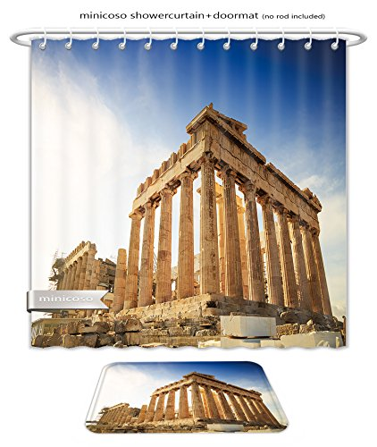 Minicoso Bath Two Piece Suit: Shower Curtains and Bath Rugs Acropolis Hill Parthenon Athens Greece Odeon Herodes Atticus Shower Curtain and Doormat - Athens Macys