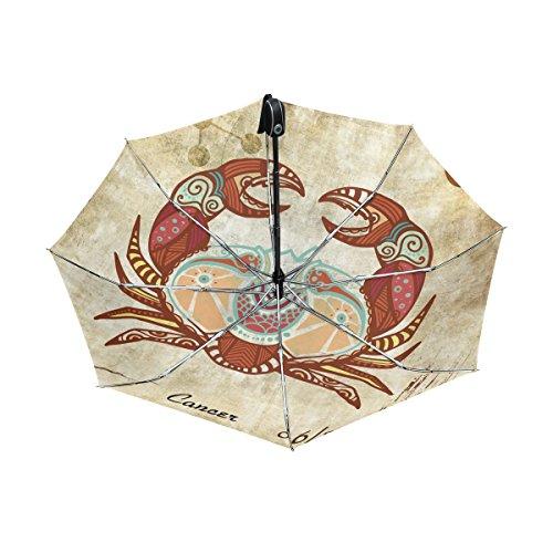 - Franzibla Constellation Zodiac Sign Cancer UPF 50+ Anti-UV Parasol Waterproof Windproof Reverse 3 Folds Auto Open Close Lightweight Umbrella