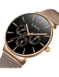 Ultra-Thin Unisex Women Men Watches Fashion Waterproof Analog Quartz Watch Stainless Steel Mesh Rose Gold Wristwatch