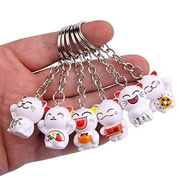 Gwill - Llavero de gato japonés de la suerte, 6 unidades ...