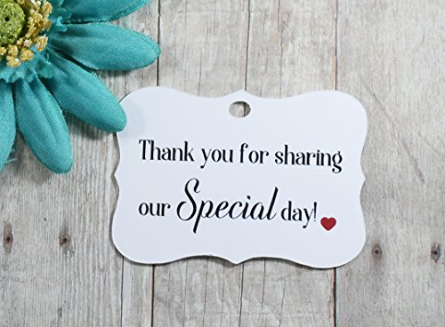 White Wedding Tags - Thank You for Sharing our Special Day (Set of 40)]()